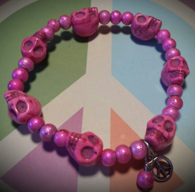 pink skulls and beads bracelet