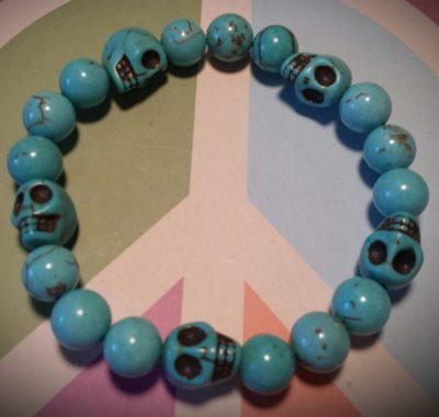turquoise skull and bead bracelet