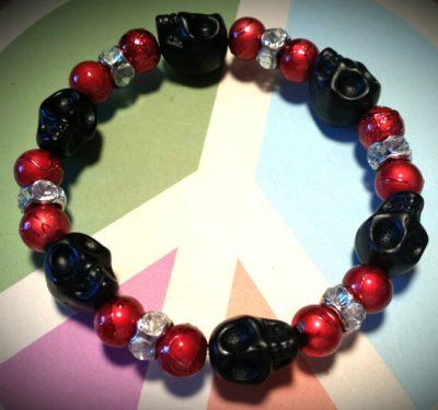 black skull bracelet red beads