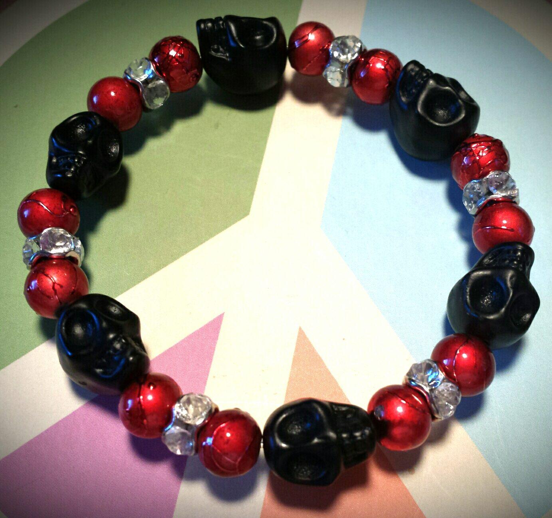black skull bracelet red beads bracelet