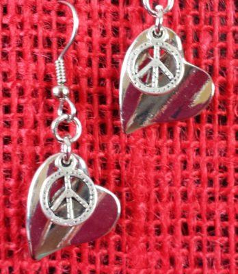 heart peace sign earrings