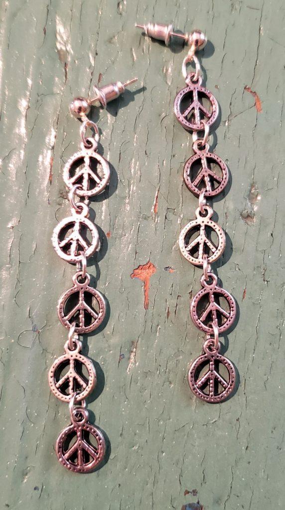 peace sign chain dangle earrings